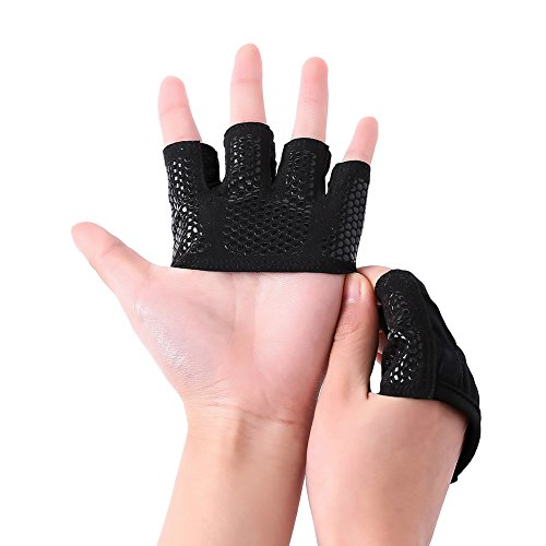 Hellodigi Half Finger Gloves Sports Fingerless Gripper Gloves workout Gloves Training Sports Gloves With Hexagonal Shaped Silicone Non-Slip Off,Perfect For Weightlifting,Men,Women,S,M,L,XL Womens Gripper Gloves
