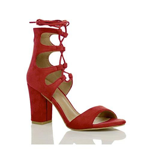 Ajvani Damen Hohe Absatz Ausgeschnitten Schnür-Pumps Peep Toe Schuhe Sandalen Größe Rot Wildleder