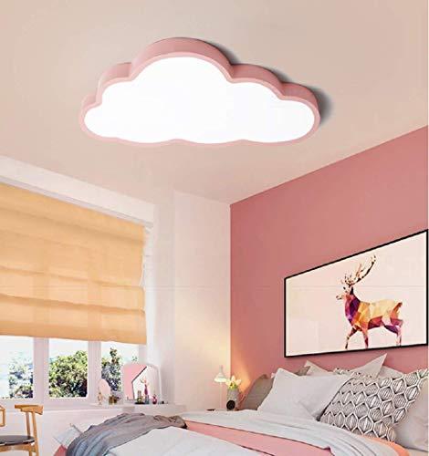 LED Deckenleuchte Kinderzimmer Jungen Mädchen Schlafzimmer ultradünne 5cm kreative Wolken (Rosa Rand(60 * 33cm)48W, Warmes Licht)