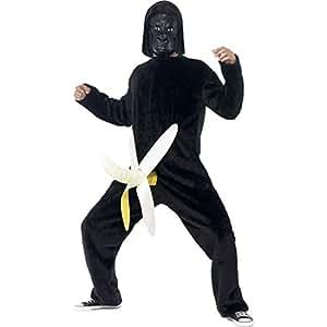 Costume de gorille déguisement de singe rigolo avec masque Tenue de primate enterrement de vie de garçon singe avec banane enterrement vie de célibataire costume animal habit de carnaval hommes