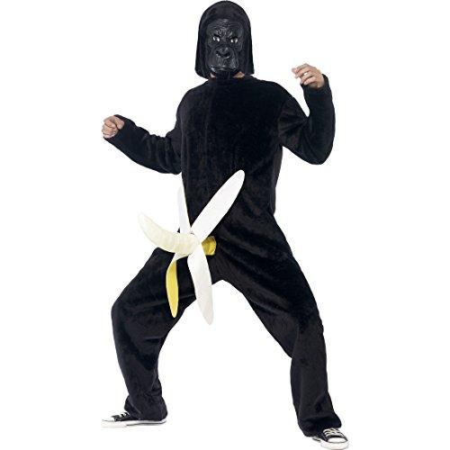NET TOYS Lustiges Affenkostüm Gorilla Kostüm mit Maske JGA Gorillakostüm Affen Bananenkostüm AFFE mit Banane Faschingskostüm Junggesellenabschied Tierkostüm Karnevalskostüme Herren lustig Ganzkörper