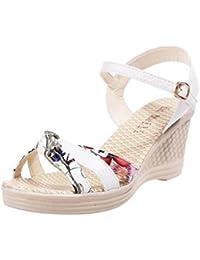 0ed5265232b72b OHQ Femmes Boss Mouth Plate-Forme Étanches Wedge Sandales Chaussures Rose  Mesdames Wedges D'Été Plates Cuir Tropeziennes…