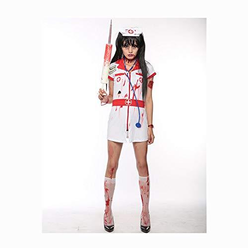 SDCNDAND Womens Zombie Krankenschwester Kostüm Adult Bloody Sexy Horror Quality Dress Up Für Frauen