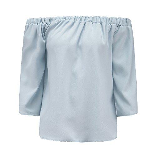 ZhiYuanAN Donna Camicetta Spalla Di Parola Shirt Ppalle Nude Tops Spalla Off Sciolto Maglietta Giallo