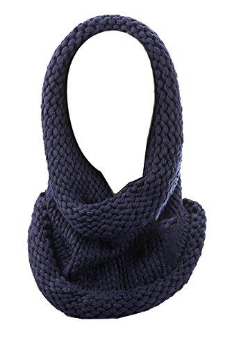 AdoniaMode Damen Loop Schlauch-Schal Kapuze-Funktion Winter-warmes kuscheliges Volumen super zart mit Viskose 36-01 Dunkel Blau