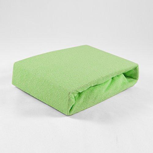 Frottee Spannbettlaken 70 x 140 cm grün Laken Bettlaken Babybett Spannbetttuch Betttuch