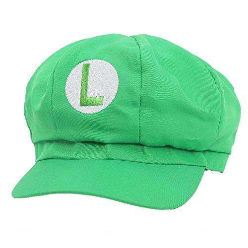 Mario / Luigi Hüte Hut Rot / Grün Elastische Kappe Hat Cosplay Kostüm Fashion Design für Halloween Party (Grün) (Kappe Große)