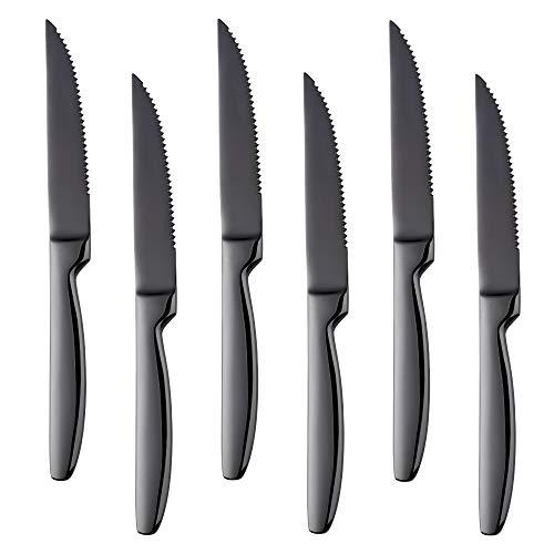 Bisda coltelli da bistecca 6 pezzi coltello posate in acciaio inox ideale per barbecue - matrimoni - cene - feste cucina domestica o ristorante lavastoviglie cassaforte (nero)