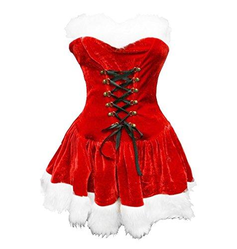 Damen Kostüm Weihnachtsmann Großbritannien - Bslingerie® Sexy Damen Weihnachten Kostüm Kleid mit Hut (L, Trägerlose Kleid)