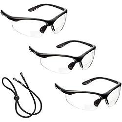 3 x voltX 'CONSTRUCTOR' (TRANSPARENTE dioptría +2.0) Gafas de Seguridad de Lectura BIFOCALES que cumplen con la certificación CE EN166F / Gafas para Ciclismo incluye cuerda de seguridad - Reading Safety Glasses