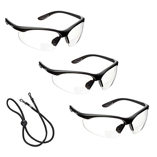 3 x voltX 'CONSTRUCTOR' BIFOKALE Schutzbrille mit Lesehilfe (KLAR +2.0 Dioptrie) CE EN166F zertifiziert/Sportbrille für Radler enthält Sicherheitsband - Bifocal Safety Glasses
