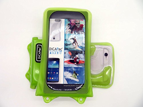 DiCAPac WP-i10 Apple iPhone 3/3G/3S/4/4S/5/5S/5C/6 Wasserdichte Hülle in Blau (Doppel-Klettverschluss, IPX8-Zertifizierung zum Schutz vor Wasser bis 10m Tiefe; integriertes Luftkissen treibt auf dem  Grün
