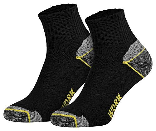 6 Paar Herren Arbeitssocken Funktionssocken kurz Baumwollsocken verstärkte Ferse Spitze schwarz 39 40 41 42 - Gepolsterte Arbeit Socken