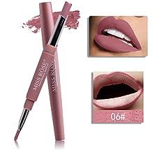 Tefmaore MISS ROSE Lápiz del palillo del trazador de líneas del labio de la prenda impermeable del lápiz labial del extremo doble