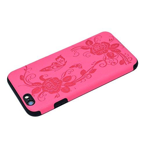 """inShang Hülle für iPhone 7 4.7"""" ,Ultra Schlank und leicht TPU Bequem Schutzhülle Rückcover (Back Case) design für Handy iPhone7 4.7 inch, + inShang Logo hochwertigen Stylus Eingabestift Stift Rose butterfly flower"""