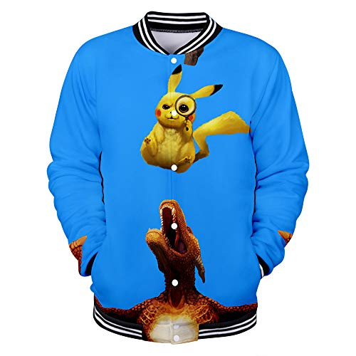 WQWQ Herren Pokemon Freizeitjacke Pikachu Weihnachten Lightweight Sports Baseball Pokémon Bekleidung Four Seasons L XL XXL,C,XXL (Four Halloween-kostüme Seasons)