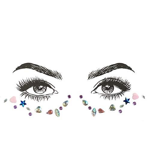 Mitlfuny Karnevals Make-up Fastnacht & Mottopartys,Gesicht Edelsteine Klebstoff Glitter Jewel Hochzeit Festival Rave Party Body Make Up
