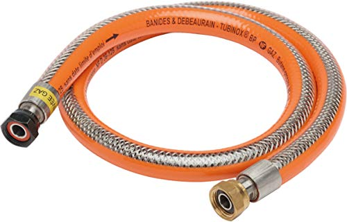 flexible gaz - tubinox - butane et propane - 2 mètres - banides et debeaurain 38916