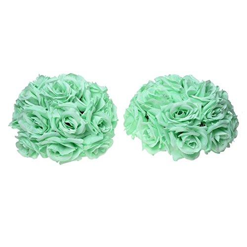REFURBISHHOUSE 8 Zoll (20Cm) Wedding Dekorationen Künstliche Rose Seidenblume Ball Mittelstücke Minze Dekorative Hängende Blume Ball Wein (Himmelblau)