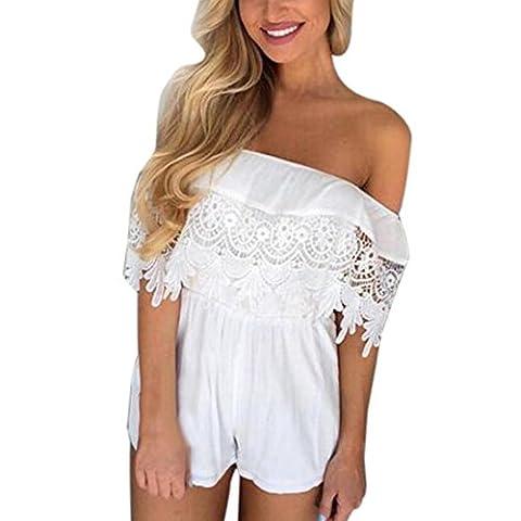 Reaso Femmes Hors épaule Mousseline de soie Off Shoulder Dentelle Combinaison de survêtement Combinaison Été Vêtements de plage (Asie XL, Blanc)