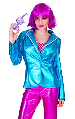 Kinder Disco Kostüm 70er Fever Jahre - Karneval-Klamotten Disco Kostüm Damen 70er Jahre Jacke Damen Disco Jacke Disco Fever Kostüm blau Größe 36/38