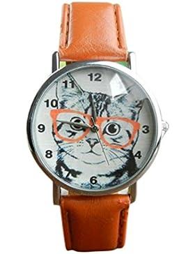 Sunnywill Neue Mode Katze Muster Leder Band Analog Quarz Vogue Armbanduhr für Frauen Mädchen Damen