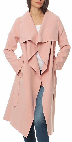 Malito Damen Mantel lang mit Wasserfall-Schnitt | Trenchcoat mit Gürtel | weicher Dufflecoat | Parka - Jacke 3040 (rosa)
