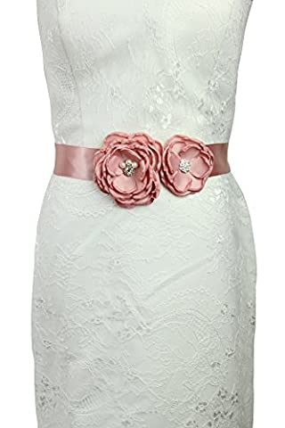 Lemandy Handmade Two flowers Belt/Sash for Wedding/Evening/Prom A13 (Pink)