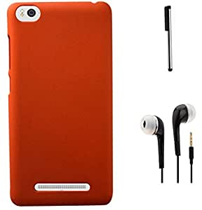 Tidel Ultra Thin and Stylish Rubberized Back Cover for Xiaomi Mi 4i (Orange) With 3.5mm Handsfree Earphone & Stylus