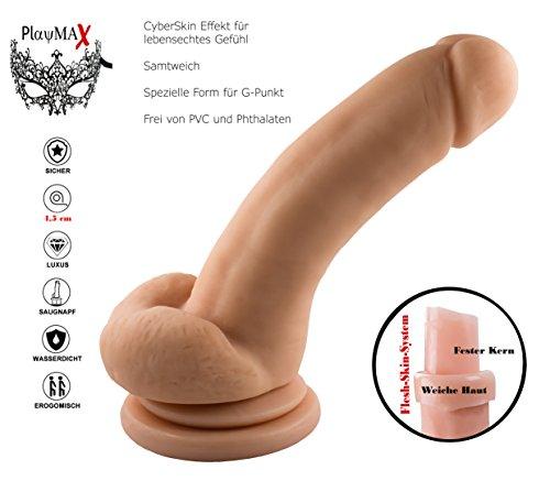 PlayMax© Deluxe Real Dong G-Punkt Penis Nachbildung (450 Gramm) Vagina Cowboy,dicker Dildo mit G-Punkt Wölbung,schöner Eichel und Saugnapf, SuperSkin Material extra realistisch