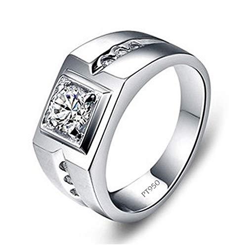 bungsring, platinierter Sterling Silber Ring mit Moissanite Simulated Diamond Herrenschmuck,U ()