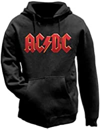 AC/DC Red Logo Official Unisex Pullover Hoodie (Black) Medium