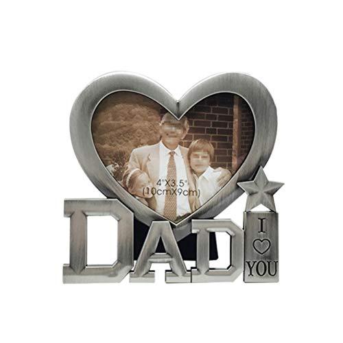 Bestoyard i love dad metal picture frame cornice per foto in metallo cornice da tavolo per regalo festa del papà (dimensioni telaio interno 4 * 3.5cm)