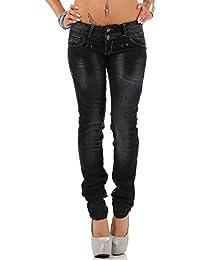 Cipo & Baxx Damen Jeans Hose Freizeit dicke Kontrastnaht Used Look