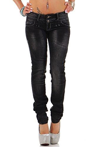 Cipo Baxx Sexy Damen Jeans Stretch Röhre Hose Slim Stright Fit Skinny Hüftjeans Casual verschiedene Varianten Styles, Blau (Modell-07), Gr. 26W / 32L
