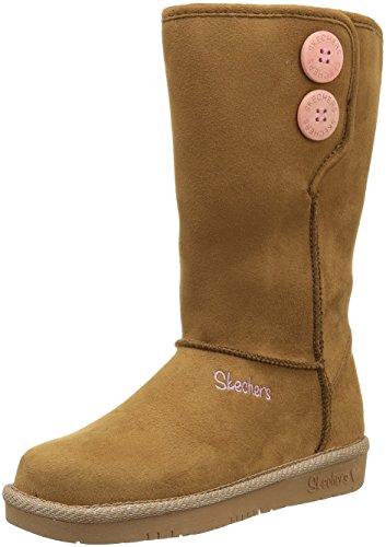 Skechers Glamslam Button Beauties, Desert Boots Filles, Beige (Cnhp Marron/Rrose Foncée), 37 EU