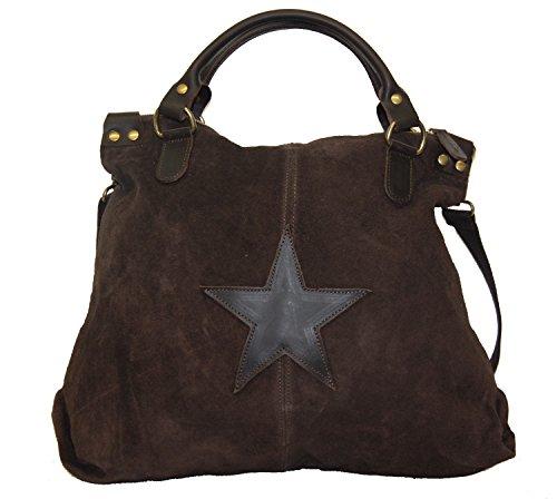 XL Wildleder Damentasche Stern Stars Shopper Henkeltasche Tasche Rauhleder/Leder (grau) dunkelbraun