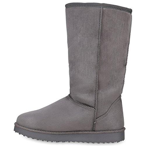 Damen Schlupfstiefel Warm Gefütterte Stiefel Schleifen Ketten Nieten Print Schuhe Blumen Pailletten Winter Boots Flandell Grau Brooklyn