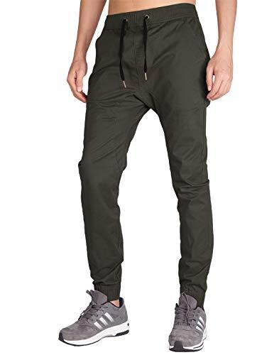 Italy Morn Herren Chinohose Jogginghose Casual Stoff Jogger Hose Slim Fit (XL, Dunkel Grau Grün) -