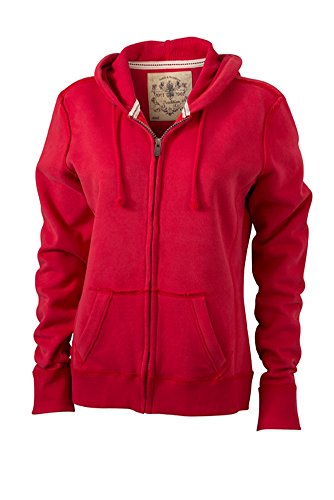 James & Nicholson Damen Kapuzenjacke Ladies' Vintage Hooded Sweatshirt, red, ... - Vintage Red Vintage Pullover