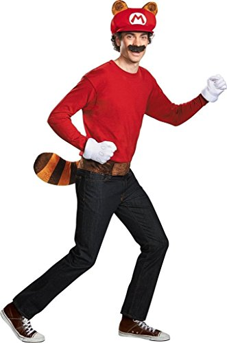 Mario Kostüm Tanooki (Super Mario Bros Nintendo Mario Raccoon Instant Costume Kit Adult One)