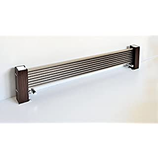 Accuro Korle Modern Excel Horizontal Designer Radiator - Brushed Aluminium & Wood - High heat output. Heats up 3-4 times faster than standard steel radiators. FSC Certified Wood (H300mm x L1000mm)