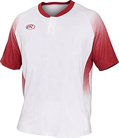 Rawlings Men's 2-Button Jersey with Sublimated Sleeves & Inserts, X-Large, White/Scarlet