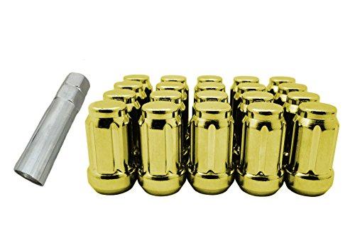 CPR Schließen 894Spline Stahl Rad Lug Muttern 20Stück mit Schlüssel M12x 1,5Gold