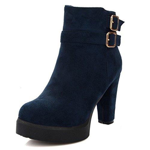 TAOFFEN Damen Mode-Event Fransen Schnalle Hohen Absätzen Knöchelriemchen Reißverschluss Blockabsatz Elegant Chelsea Stiefel Blau