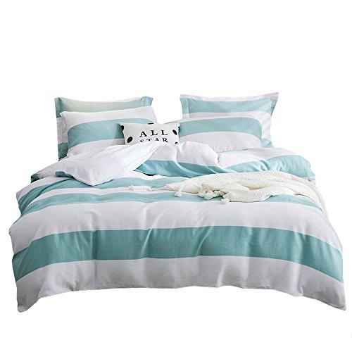 lausonhouse Garn Gefärbt Waffel gewebtem Streifen 100% Baumwolle Bettbezug Set-Queen, baumwolle, aqua, King Size -