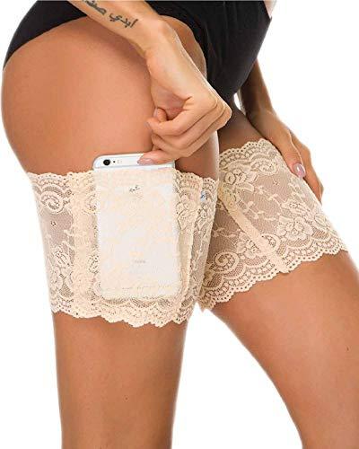 heekpek Damen Anti Chafing Bands Bänder Socke Anti-Scheuern Oberschenkel Bein Wärmer mit Cellphone Pocket (Beige, M (55-60 cm/22