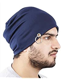 FAS Men's Cotton Beanie and Skull Cap (cap_b2b_A_4_Blue_Free Size)