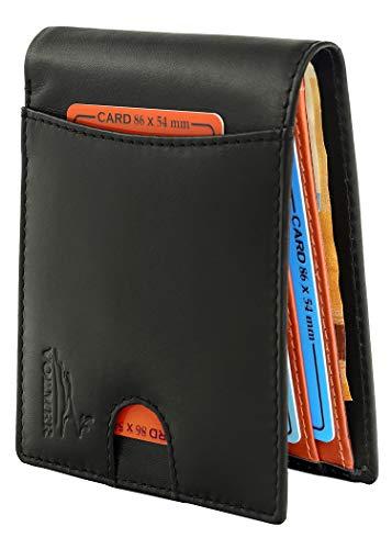 Fa.Volmer ® schlanke Bequeme Geldbörse aus echt Leder mit RFID-Schutz für Herren Typ #VO20B (Schwarz)