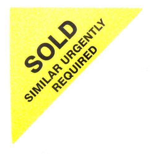 Etiquetas Para Viviendas En Venta , texto: VENDIDO SIMILAR URGENTE REQUIERE , Amarillo , Triángulo Grande , Inmuebles & Alquileres Agente pegatinas autoadhesivas